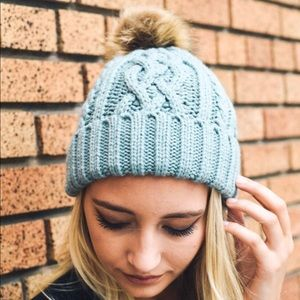 Blue Pom Pom Vegan Friendly Winter Beanie OS